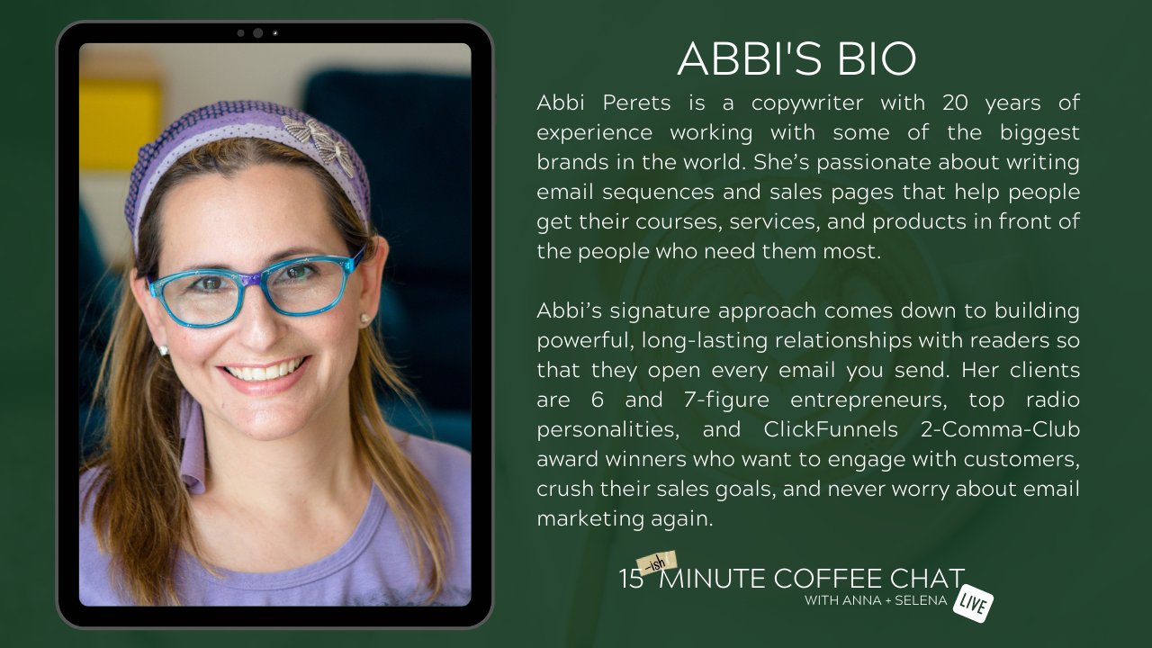 Abbi Perets Bio graphic for show about email strategy